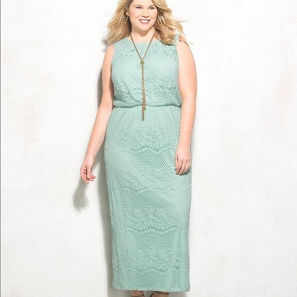 Mint Green Plus Size Maxi Dress 22w